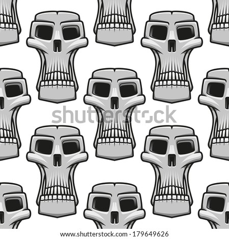 Seamless pattern of long stylized spooky Halloween skulls in a repeat motif in square format, black and white outline vector illustration - stock vector