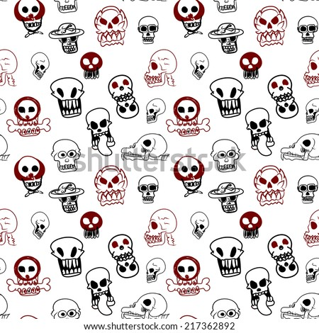 Seamless pattern of many style of skull on white background