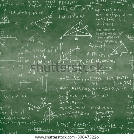 Seamless pattern of mathematical operations and elementary functions, endless arithmetic on school boards. Green Background. Writing on textured not seamless green chalkboard.