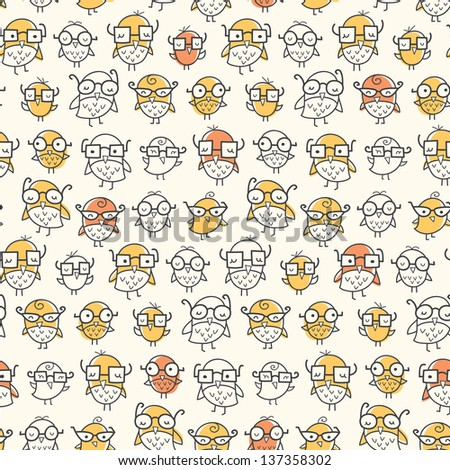 Seamless pattern of nerdy birds wearing glasses. Colors can be easily changed in vector file. - stock vector