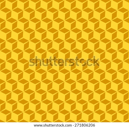 Seamless Pattern of of Isometric Cubes With Shade. Yellow Color. - stock vector