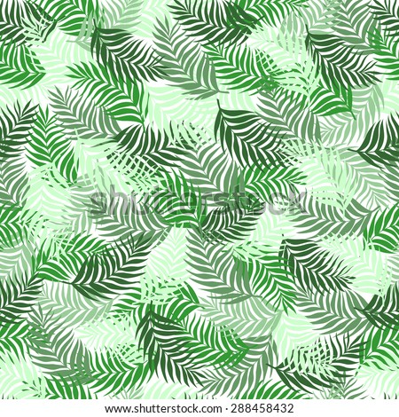 Seamless pattern of palm leaves branches superimposed on each other beautifully green on a white background - stock vector