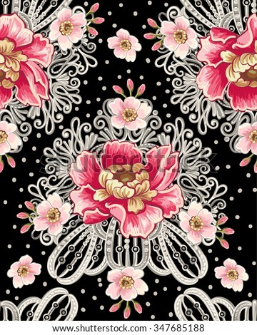 Seamless Pattern Of Peony Flowers And Silver Jewelry On A Black Background Vintage