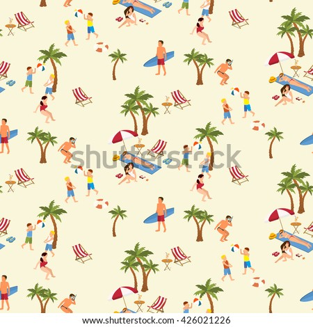 Seamless pattern of people enjoying summer holidays on the beach and doing different activities
