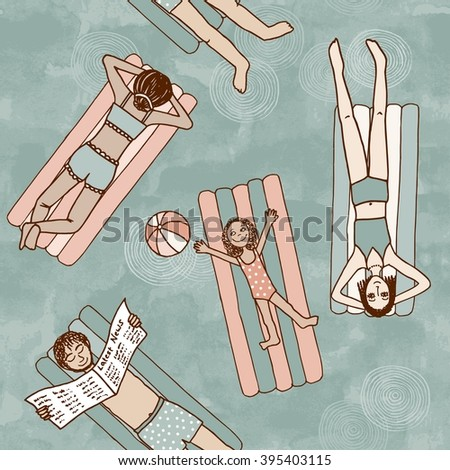 Seamless Pattern Of People Lying On Air Mattresses In Swimming Pool Top View
