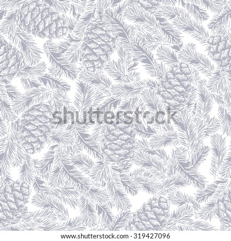seamless pattern of pine cones and spruce branches - stock vector