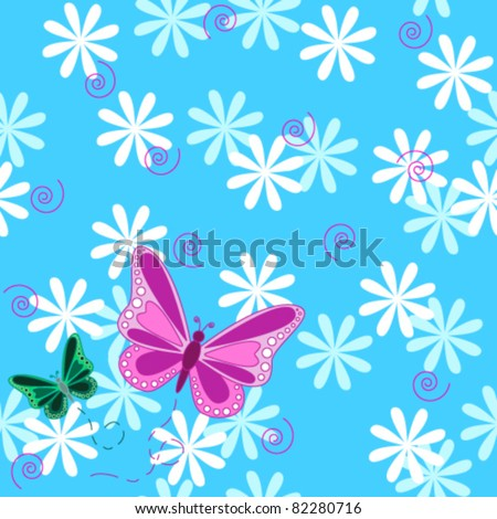 Seamless pattern of pink an green flying butterflies with pastel color flowers over sky blue background. - stock vector