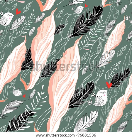 seamless pattern of pink fabric and feathers