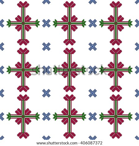 Seamless pattern of pixel mosaic design as textiles, presentations, wallpapers. Vector Image.