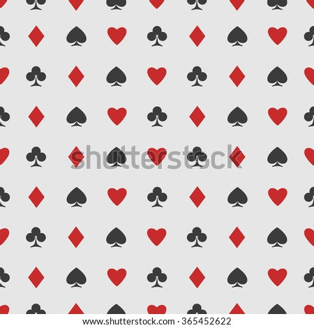 seamless pattern of playing card suits on white. vector background design. hearts, spades, diamonds and clubs symbol. casino and poker rooms wallpaper