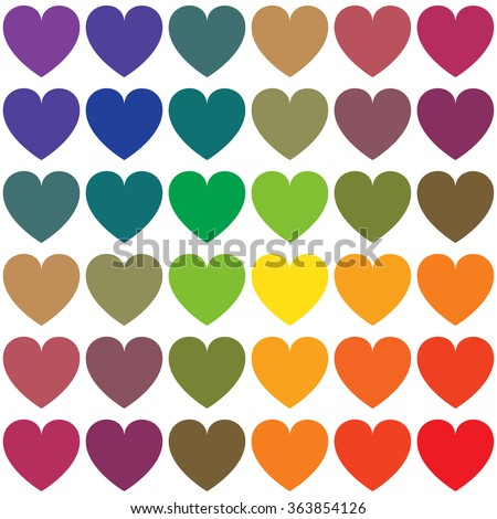 Seamless pattern of rainbow colored hearts isolated on the white background. - stock vector