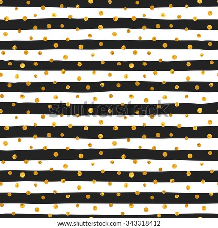 Seamless pattern of random gold dots on trendy background of white and black stripes. Elegant pattern for background, textile, paper packaging and other design. Vector illustration. - stock vector
