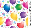 seamless pattern of realistic glossy balloons, vector - stock vector