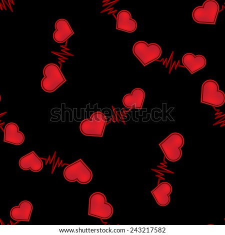 Seamless pattern of red hearts connected pulse line on a black background, for design, gift wrapping, covers, textiles, craft, etc. - stock vector
