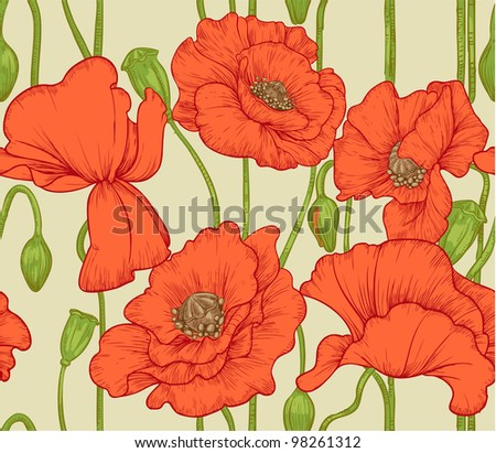 seamless pattern of red poppies - stock vector