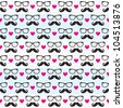 Seamless pattern of retro mustache & spectacle frames - stock vector