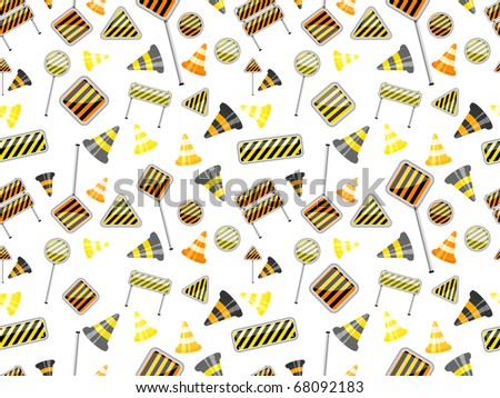 seamless pattern of road sign on white backdrop - stock vector