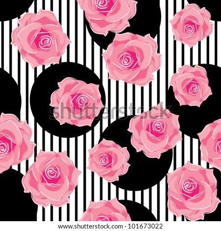 seamless pattern of roses - stock vector