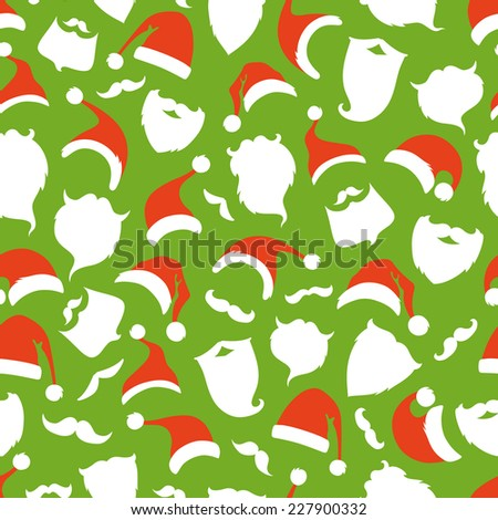 Seamless pattern of Santa hats, moustache and beards. Christmas background for your festive design.  - stock vector
