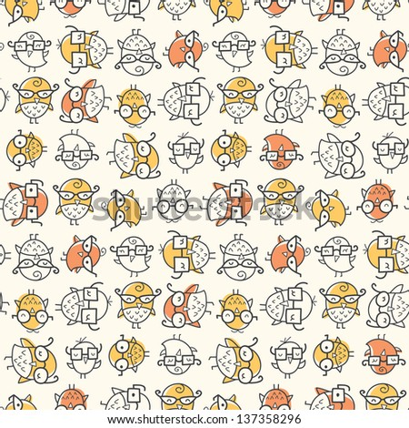 Seamless pattern of scattered nerdy birds wearing glasses. Colors can be easily changed in vector file.