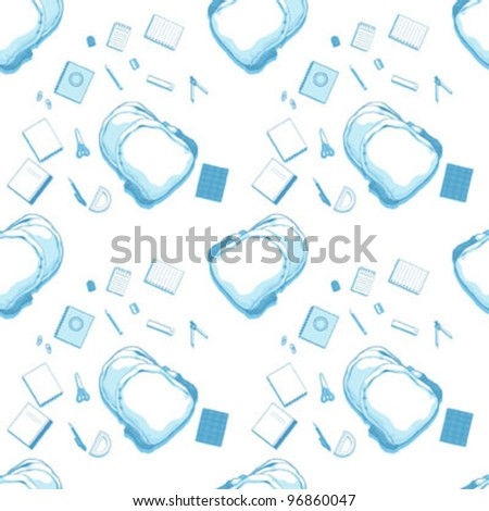 Seamless Pattern of School Bag and Supplies - stock vector