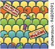 seamless pattern of seats after ultras fans on the stadium - stock vector