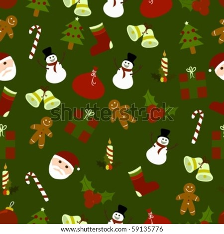 Seamless pattern of several christmas ornaments and icons - stock vector