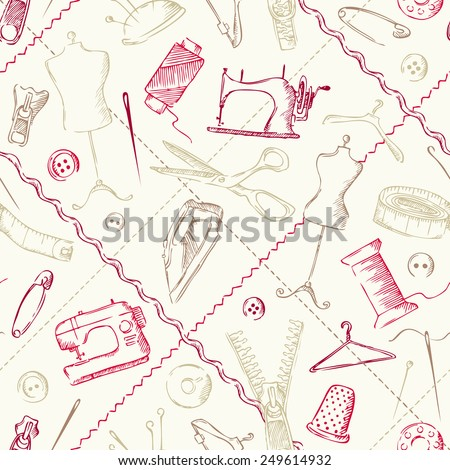 Seamless pattern of sewing elements. Sketch illustration. Hand-drawn sewing design. - stock vector