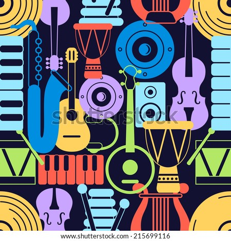 Seamless pattern of silhouette musical instruments on dark background. Vector illustration - stock vector