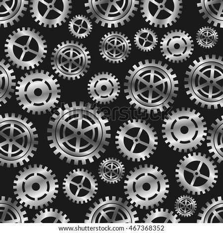 Seamless pattern of silver gears
