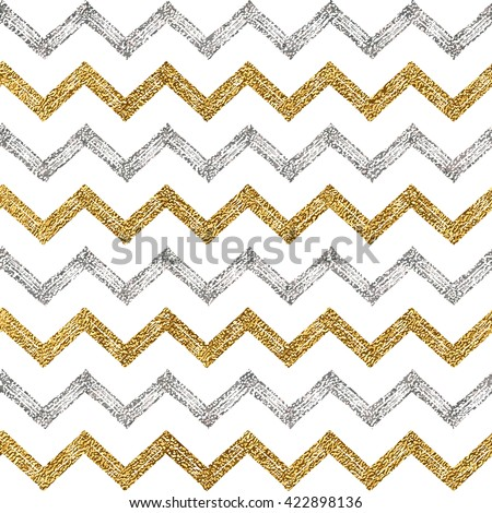Seamless pattern of silver gold zigzag chevron, seamless background of zig zag stripe, hand painted vector pattern for textile, wallpaper, web, wrapping, save the date, wedding, card, paper - stock vector