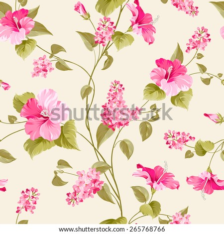 Seamless pattern of siringa and hibiscus flowers for fabric pattern. Vector illustration. - stock vector