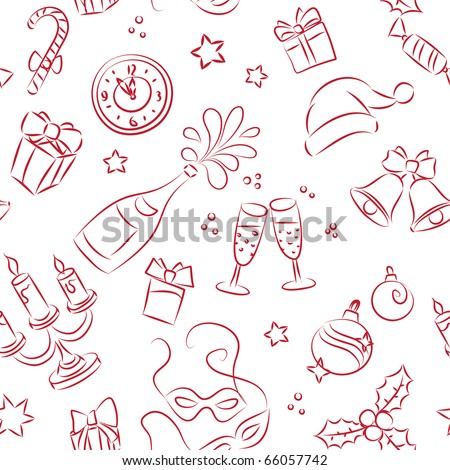 Seamless pattern of sketched Christmas and New Year elements - stock vector