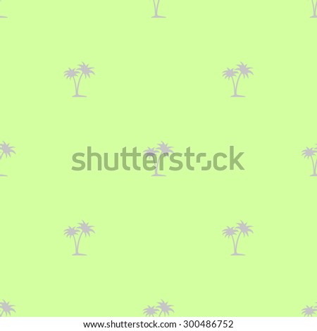 Seamless pattern of small gray palm trees on a light green background. - stock vector