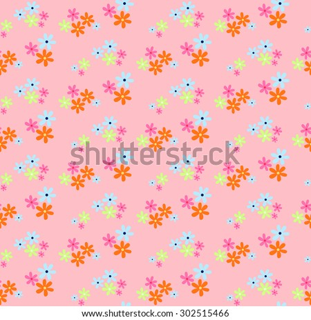 Seamless pattern of small multi-colored flowers looks lovely in sweet style, ideal for children or girls - stock vector