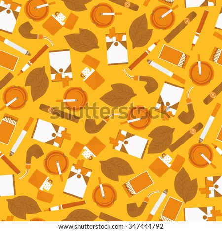 seamless pattern of smoking accessories - stock vector