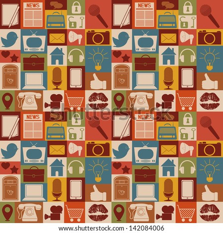 Seamless pattern of social media icons. - stock vector