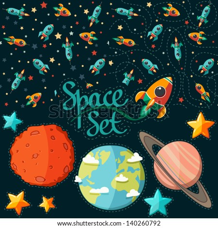 Seamless pattern of space, rocket and stars. Cartoon planet icons. Kid's elements for scrap-booking. Childish background. Hand drawn vector illustration. - stock vector