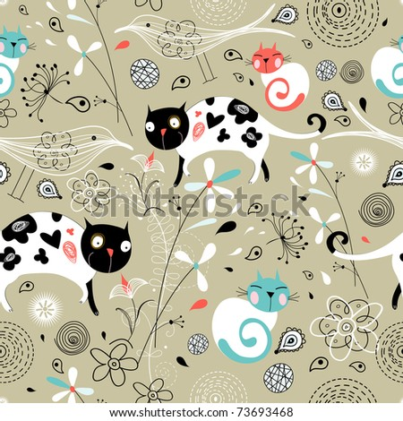 seamless pattern of spring with cats - stock vector