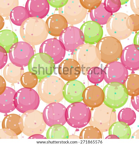 Seamless pattern of stylized, colored, transparent, inflatable balls. - stock vector