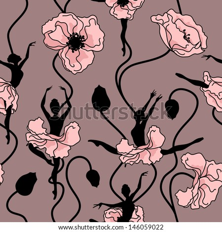 Seamless pattern of stylized dance of flowers and ballerinas - stock vector