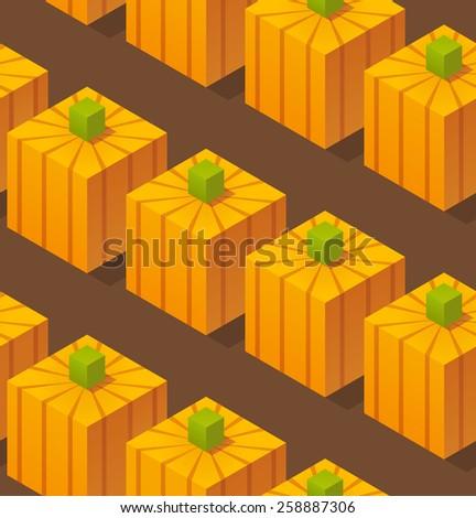 Seamless pattern of stylized isometric cartoon pumpkins. - stock vector
