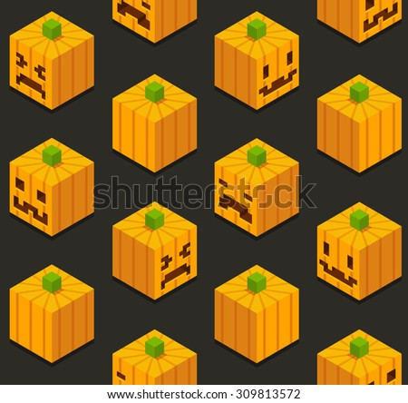 Seamless pattern of stylized isometric cartoon pumpkins with different faces. - stock vector