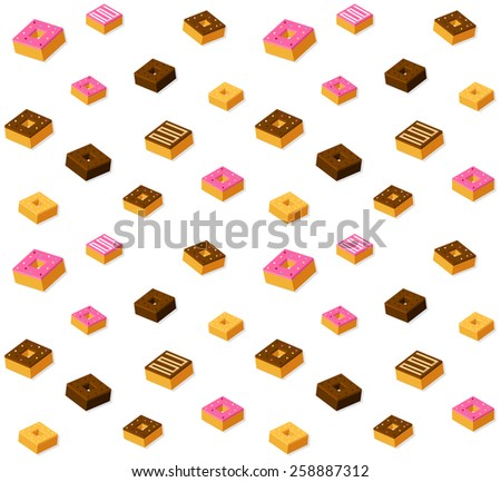 Seamless pattern of stylized isometric donuts. - stock vector