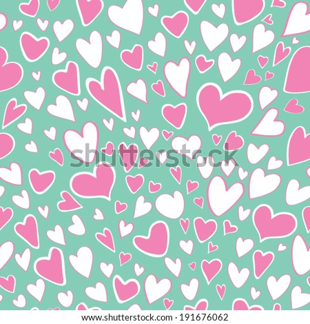 Seamless pattern of stylized pink and white colors hearts on mint color background