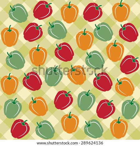 Seamless pattern of sweet peppers of different colors, vector format - stock vector