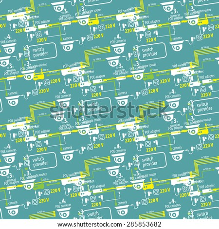 Seamless pattern of textile equipment and circuitry for CCTV - stock vector