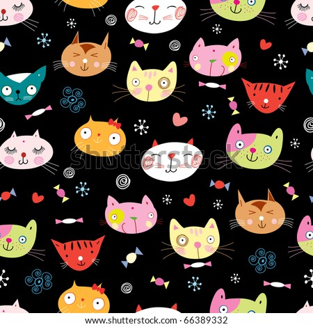 Seamless pattern of the cats - stock vector