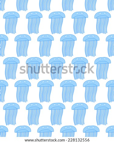Seamless pattern of the jellyfish icons - stock vector