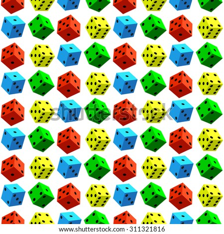 Seamless pattern of the varicoloured dice cubes - stock vector